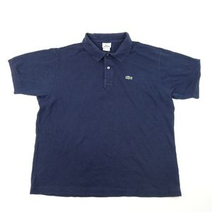 Vintage Lacoste Men Sz XXL 7 Blue Polo Shirt A6802